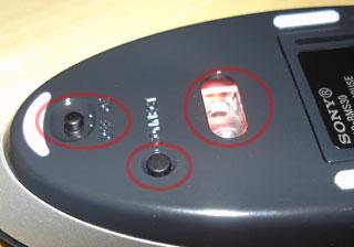 ▲左から順に、電源SW、CONNECTボタン、発光・受光部。