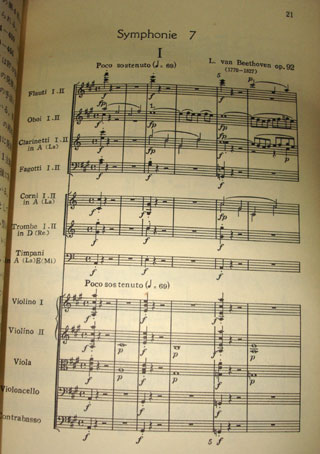 ▲交響曲第7番冒頭。