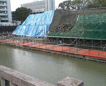 駿府城の石垣復元工事